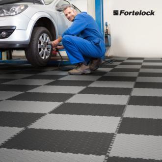 Floor in a tire shop